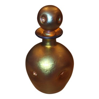 Steuben Art Deco Era Gold Aurene Perfume Bottlle and Dauber