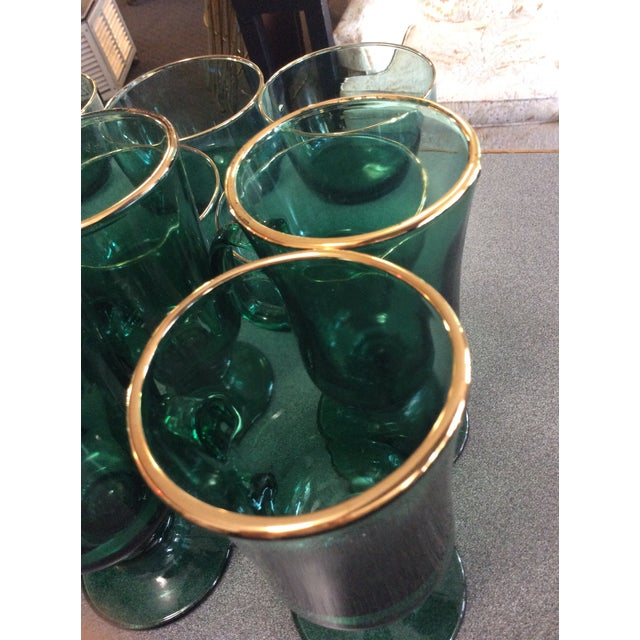 Image of Vintage Green Glass Mugs & Dishes - Set of 14