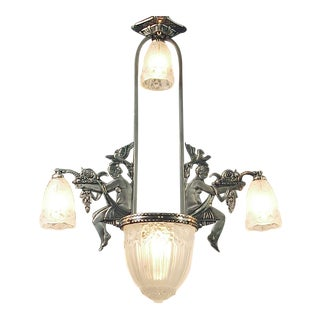 "A High Style French Art Deco Chandelier with Ladies and Birdslassic French Art Deco Chandelier, 6 ""Slip"" Shades, 3 ""tulipes"""