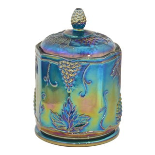 Iridescent Peacock Blue Lidded Jar
