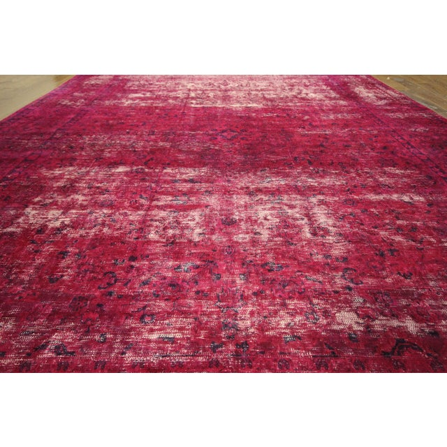 """Pink Overdyed Floral Area Rug - 9'7"""" x 12'2"""" - Image 6 of 10"""