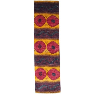 "Ikat, Hand Knotted Runner Rug - 3' 1"" x 11' 8"""
