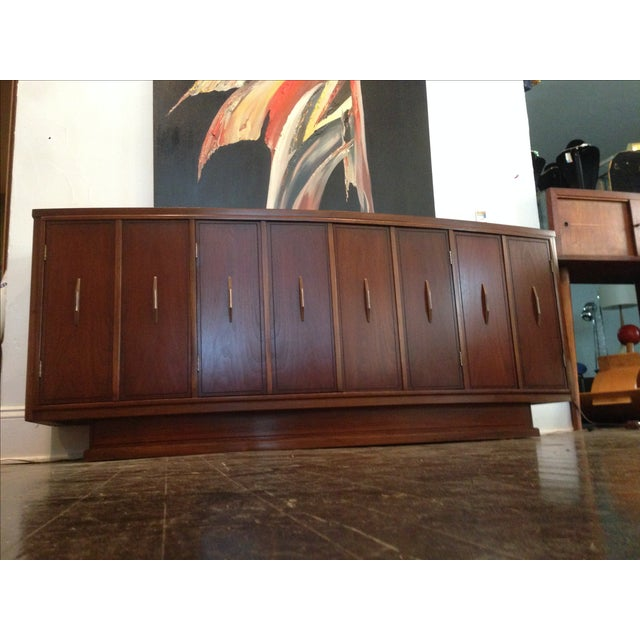 excellent mid century modern bedroom referencias san and | Mid-Century Modern Curved Front Walnut Credenza | Chairish