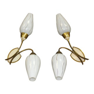 Big Pair Of French Art Deco /Mid Century Brass /Art Glass Sconces Circa 1950s.
