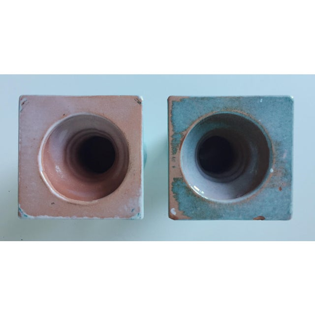 Turquoise Glazed Terra Cotta Candle Holders - Image 5 of 5