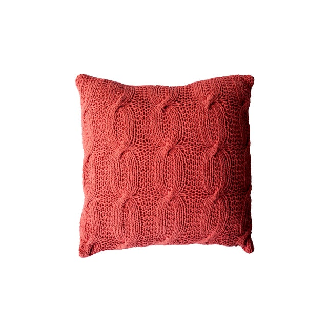 Orange Cable Knit Pillow - Image 1 of 2