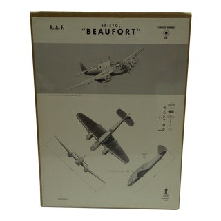 "Vintage Bristol ""Beaufort "" WW II Aircraft Recognition Poster Circa 1942"