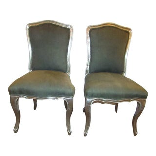 Upholstered Accent Chairs in Silver Metal - A Pair