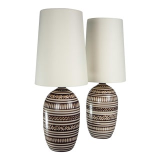 Tribal Lotte Stoneware Table Lamps - A Pair