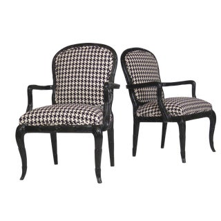 Serge Roche Style Houndstooth Chairs - A Pair