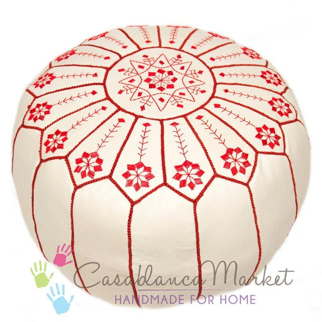 Embroidered Leather Pouf, Red on White Starburst Stitch - Image 2 of 5