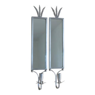 1930s Mirrored Art Deco Aluminum Wall Sconces by Palmer Smith - a Pair
