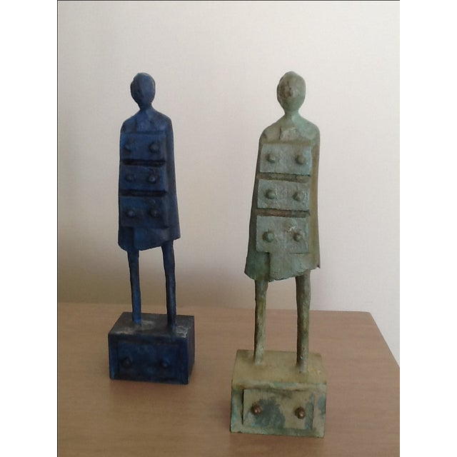 """""""Chest of Drawers"""" Bronze Men by H. Hitchcock - Image 3 of 5"""