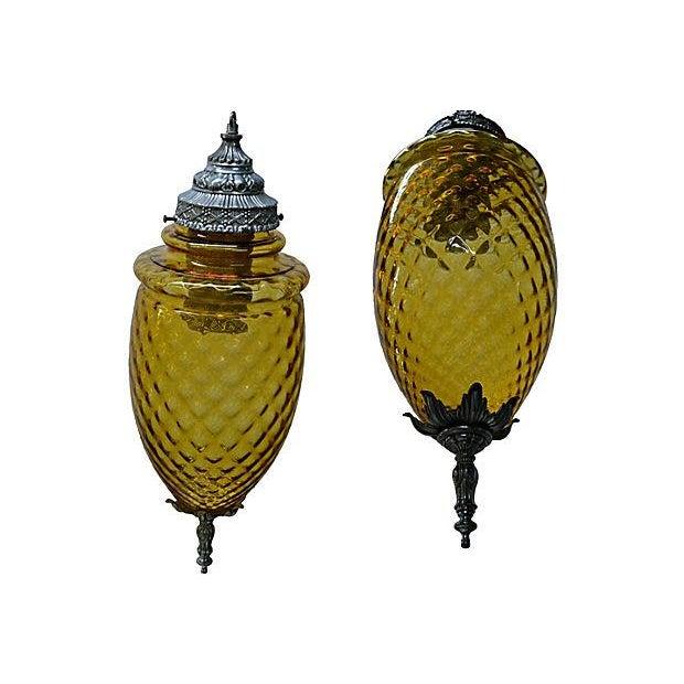 Amber Glass Pendant Lamp - Image 4 of 7