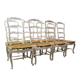 French Country Ladder Back Dining Chairs - Set of 8