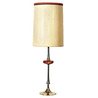 1960s Gilt Metal & Ceramic Accent Lamp