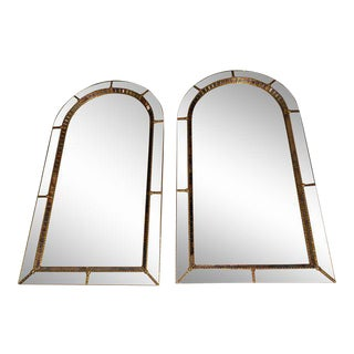Mid-Century Arch Church Style Mirrors - a Pair