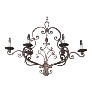 Early 20th Century French Six-Light Iron Chandelier