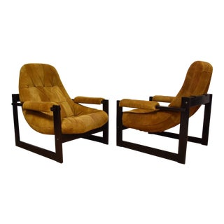 Percival Lafer Suede Leather Lounge Chairs - A Pair