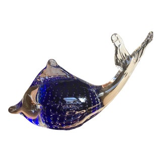 Murano Style Cobalt Suspended Bubble Glass Dolphin