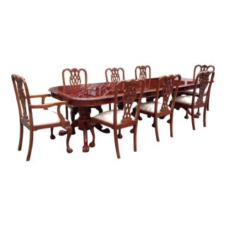 Chippendale Lacquer Inlaid Dining Set