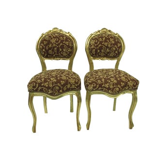 French Gilt Louis XVI Gold Upholstered Chairs - A Pair