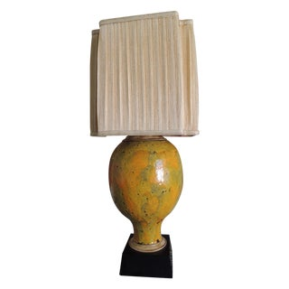 Monumental Vintage Yellow Ceramic Lamp