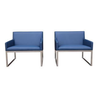 Stainless Steel Lounge Chairs - a Pair