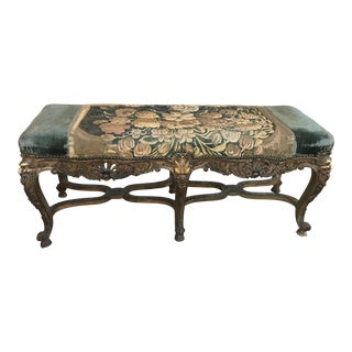 1800's Antique French Embroidered Bed Bench