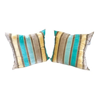 Pair of Striped Velvet Decorative Pillow By Designers Guild