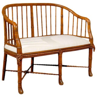 French Faux Bamboo Wood Tub-Shaped Back Settee with Upholstered Seat, circa 1930
