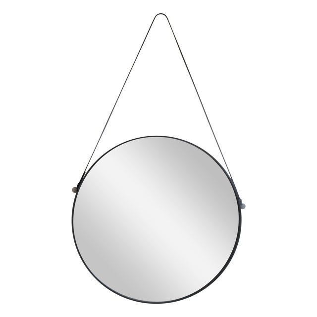 Leather Strap Hanging Mirror - Image 1 of 3