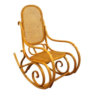 Mid-Century Modern Thonet Bentwood Caned-Seat Rocking Chair