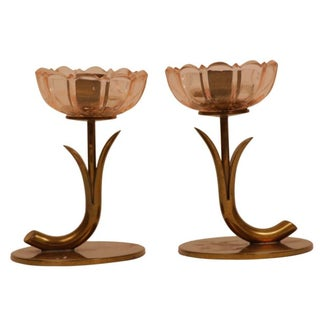 Ystad Metall Swedish Floral Candle Holders - Pair