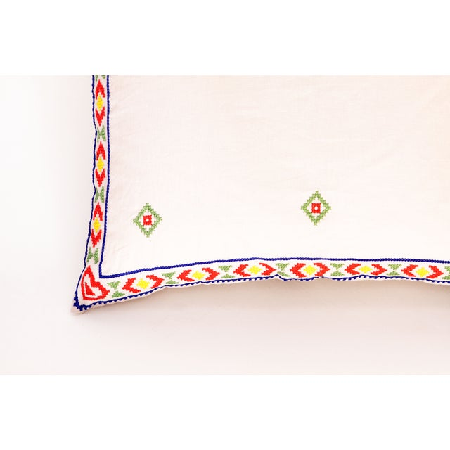 White red mexican embroidered throw pillow chairish