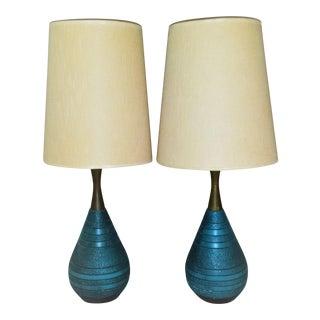 Mid-Century Ceramic Turquoise & Teak Lamps - A Pair