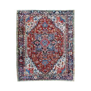 """Antique Persian Heriz Rug - 8' 10"""" x 11' 2"""""""