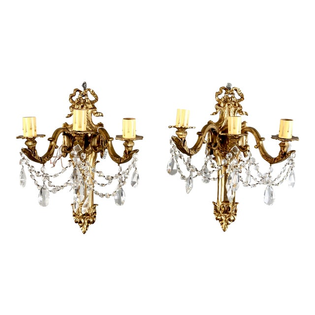 Pair of Large French Brass and Crystal Three Light Sconces - Image 1 of 7