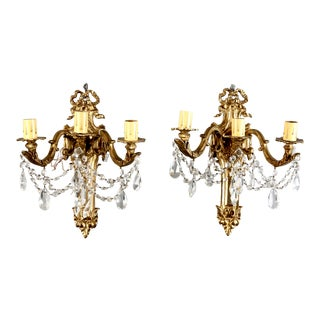 Vintage French Large Brass & Crystal 3 Light Sconces - Pair