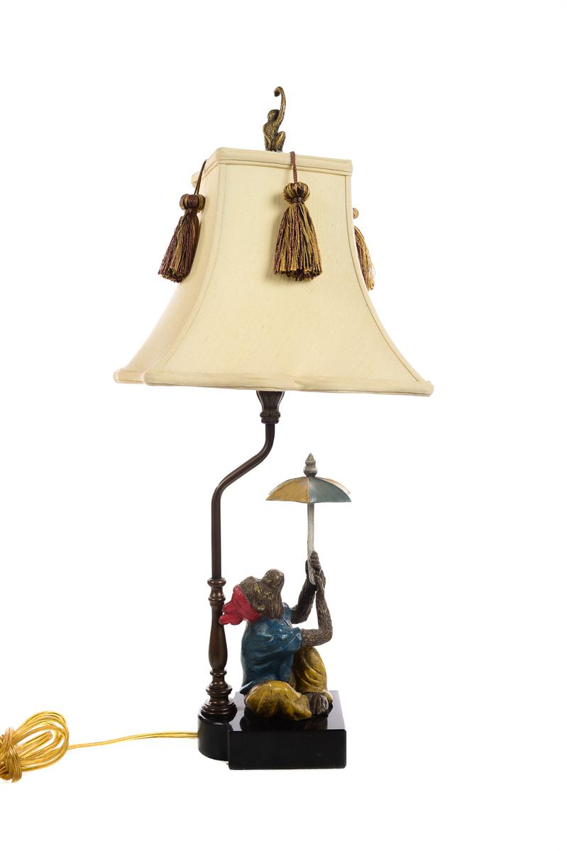 High Quality Monkeys Holding An Umbrella  Beautiful Vintage Table Lamps A Pair   Image 7  Of