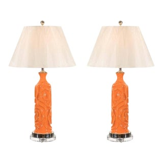 Vibrant Pair of Modern Tangerine Ceramic Lamps