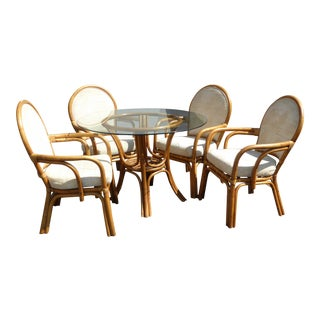 Vintage Mid-Century Tiki Palm Beach Bentwood Dining Set Table & White Chairs