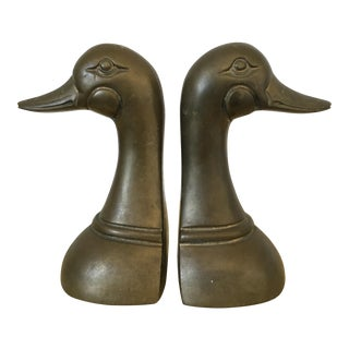 Solid Brass Duck Head Bookends - A Pair