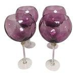 Image of Purple Art Glass Wine Magnums - Set of 4