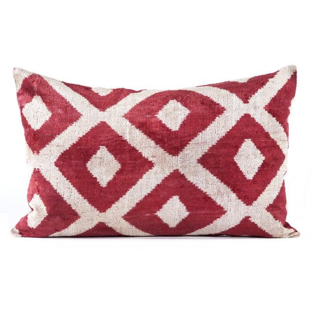 Red Silk Velvet Ikat Pillow - Image 2 of 2