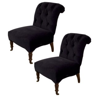 Lee Industries Midnight Blue Velvet Chairs - a Pair