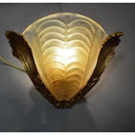Image of French Gold Wall Sconce Murano Art Glass Shade