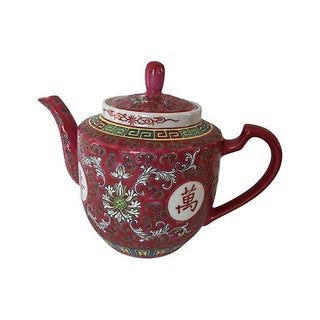 Chinoiserie Cranberry Teapot