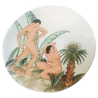 Deco-Style Tropical Adam & Eve Plate