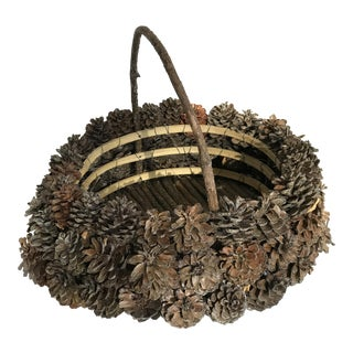 Rustic Earthy Wood Pinecone Basket Planter Vessel